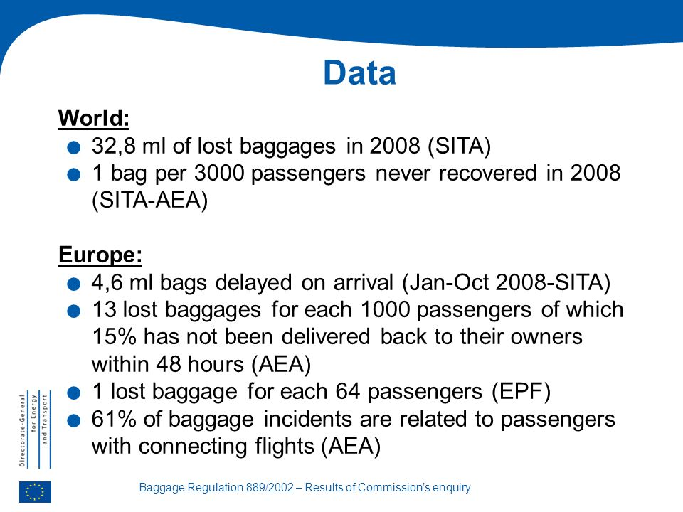 Baggage Regulation 889/2002 – Results of Commissions enquiry Data World:.