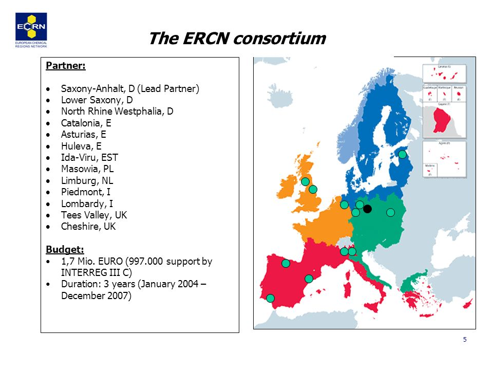 5 The ERCN consortium Partner: Saxony-Anhalt, D (Lead Partner) Lower Saxony, D North Rhine Westphalia, D Catalonia, E Asturias, E Huleva, E Ida-Viru, EST Masowia, PL Limburg, NL Piedmont, I Lombardy, I Tees Valley, UK Cheshire, UK Budget: 1,7 Mio.