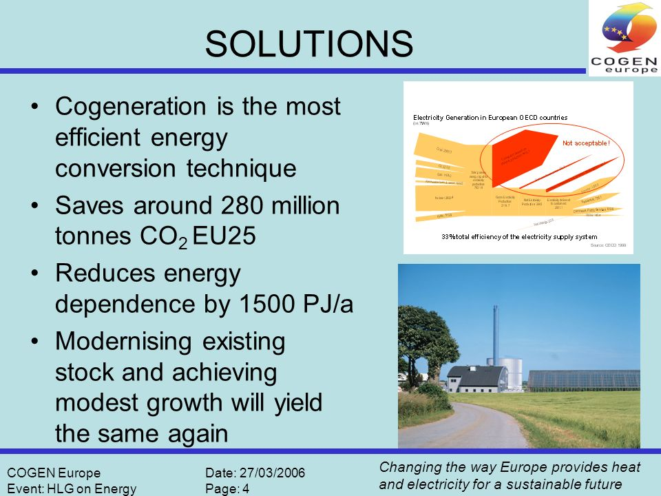 Changing the way Europe provides heat and electricity for a sustainable future COGEN EuropeDate: 27/03/2006 Event: HLG on EnergyPage: 5 Why is there not more Cogeneration.