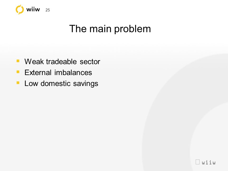 wiiw 25 The main problem Weak tradeable sector External imbalances Low domestic savings