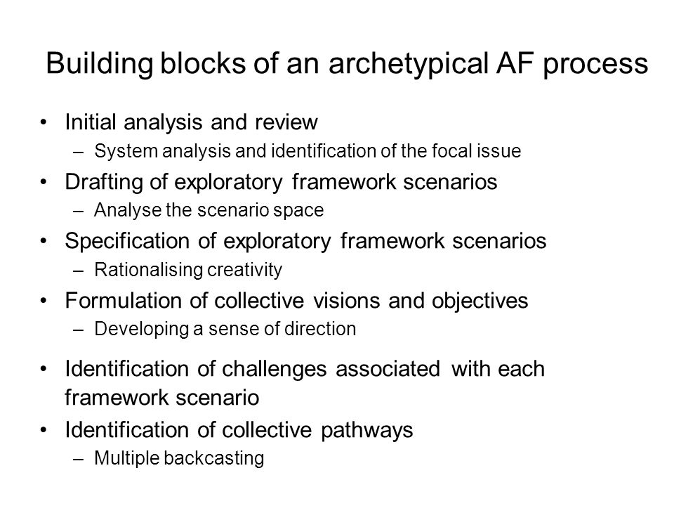 Building blocks of an archetypical AF process Initial analysis and review –System analysis and identification of the focal issue Drafting of explorato