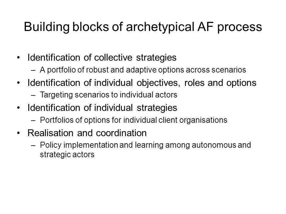 Building blocks of archetypical AF process Identification of collective strategies –A portfolio of robust and adaptive options across scenarios Identification of individual objectives, roles and options –Targeting scenarios to individual actors Identification of individual strategies –Portfolios of options for individual client organisations Realisation and coordination –Policy implementation and learning among autonomous and strategic actors