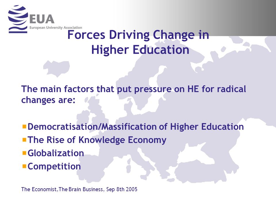 Combined Forces Driving Change in HE Demographics---Global Democratisation of Higher Education Technology/Knowledge Economy ---Competition