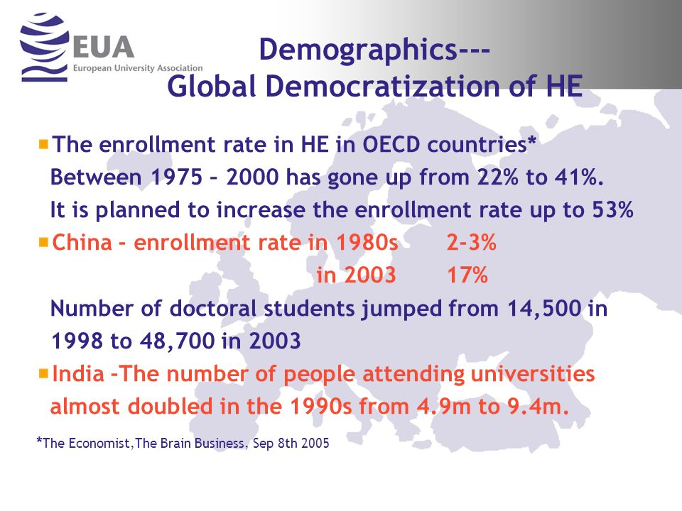 Demographics--- Global Democratization of HE The enrollment rate in HE in OECD countries* Between 1975 – 2000 has gone up from 22% to 41%.