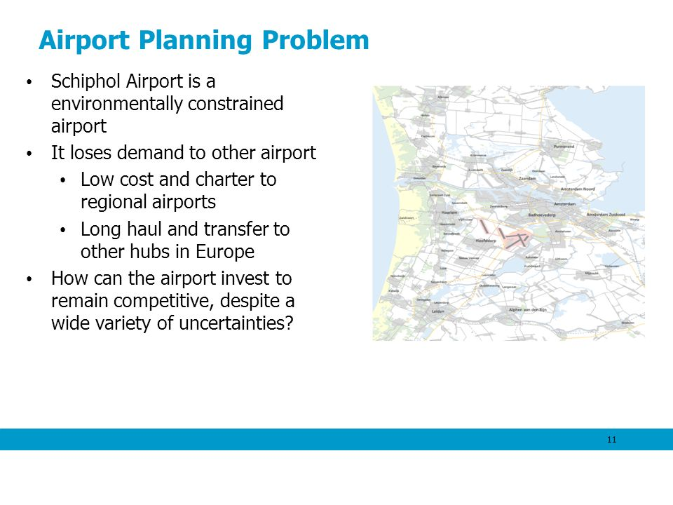 Airport Planning Problem Schiphol Airport is a environmentally constrained airport It loses demand to other airport Low cost and charter to regional a