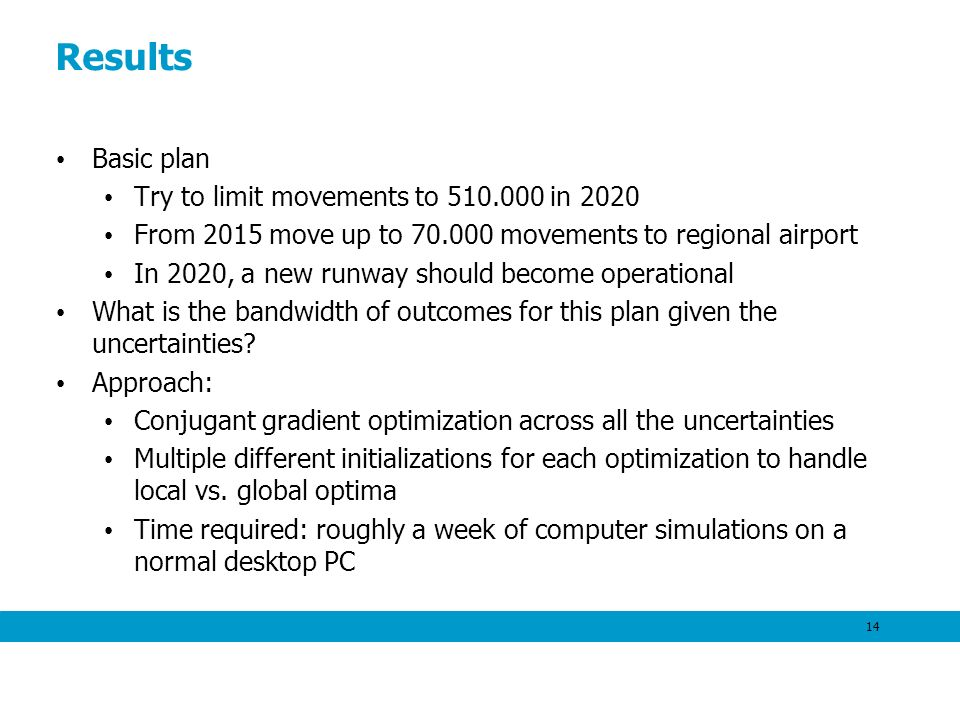 Results Basic plan Try to limit movements to 510.000 in 2020 From 2015 move up to 70.000 movements to regional airport In 2020, a new runway should be