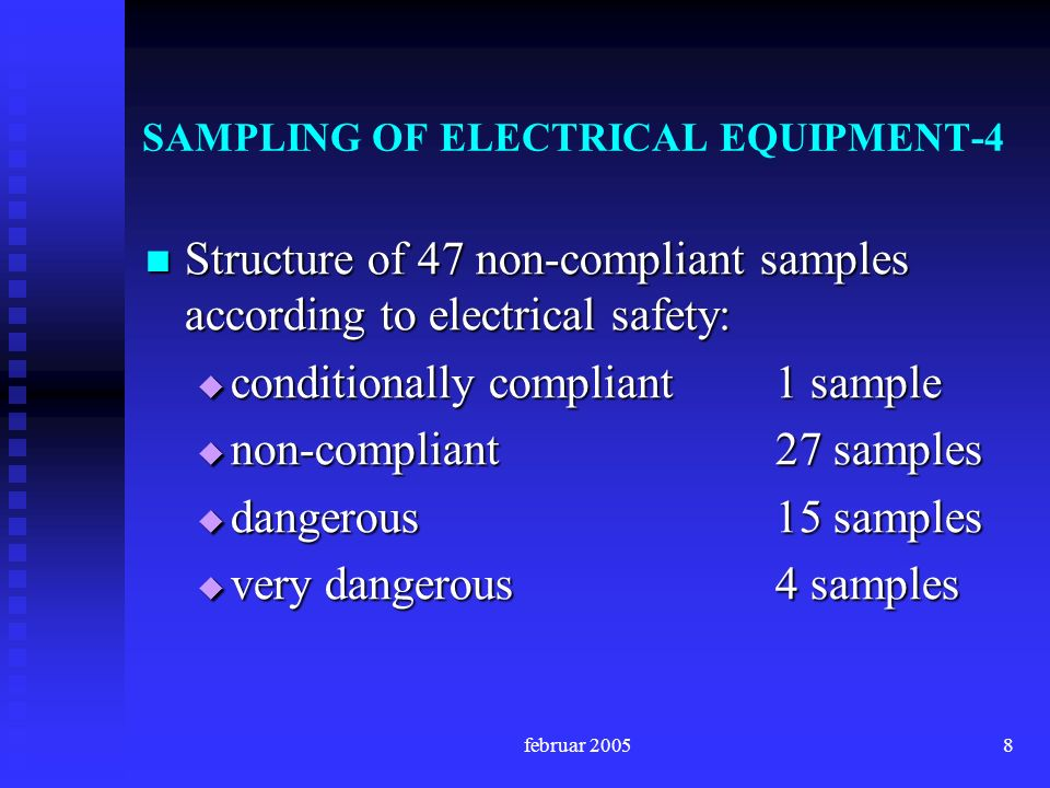 februar 20058 SAMPLING OF ELECTRICAL EQUIPMENT-4 Structure of 47 non-compliant samples according to electrical safety: Structure of 47 non-compliant samples according to electrical safety: conditionally compliant1 sample conditionally compliant1 sample non-compliant27 samples non-compliant27 samples dangerous15 samples dangerous15 samples very dangerous4 samples very dangerous4 samples