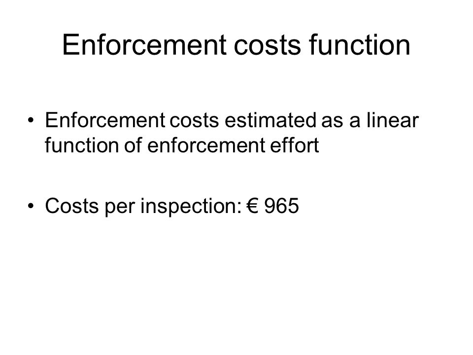 Enforcement costs function Enforcement costs estimated as a linear function of enforcement effort Costs per inspection: 965