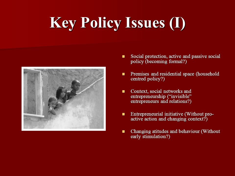 Key Policy Issues (I) Social protection, active and passive social policy (becoming formal?) Social protection, active and passive social policy (beco