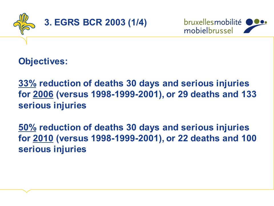 3. EGRS BCR 2003 (1/4) Objectives: 33% reduction of deaths 30 days and serious injuries for 2006 (versus 1998-1999-2001), or 29 deaths and 133 serious