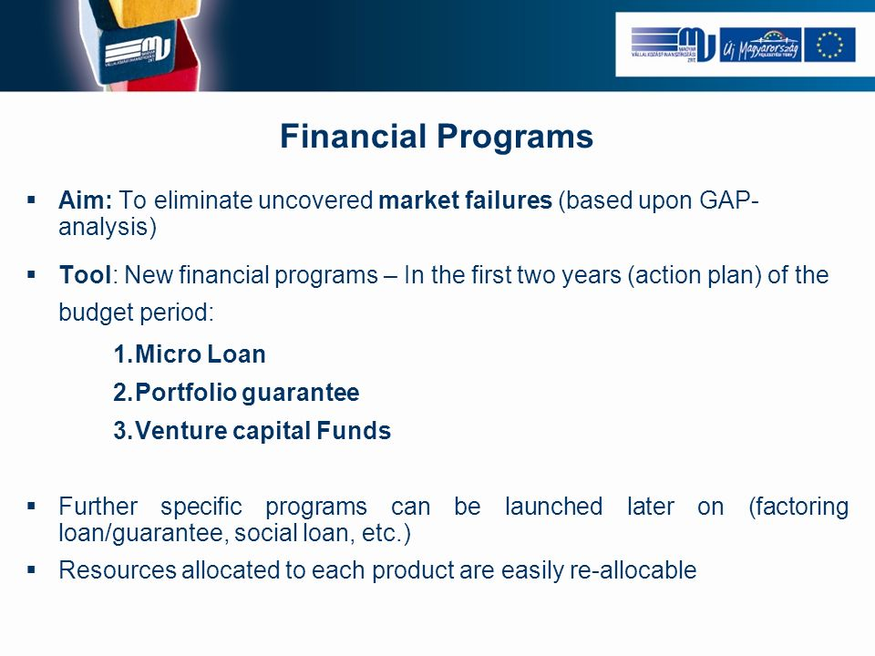 Financial Programs Aim: To eliminate uncovered market failures (based upon GAP- analysis) Tool: New financial programs – In the first two years (action plan) of the budget period: 1.Micro Loan 2.Portfolio guarantee 3.Venture capital Funds Further specific programs can be launched later on (factoring loan/guarantee, social loan, etc.) Resources allocated to each product are easily re-allocable