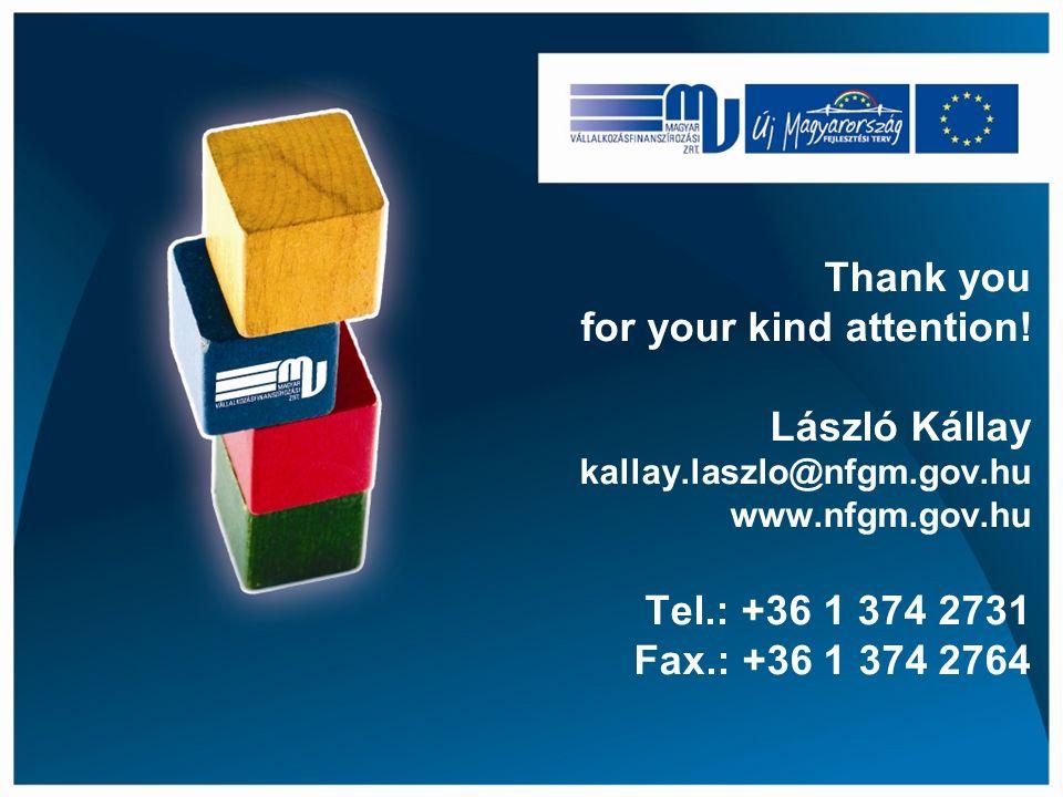 Thank you for your kind attention! László Kállay kallay.laszlo@nfgm.gov.hu www.nfgm.gov.hu Tel.: +36 1 374 2731 Fax.: +36 1 374 2764