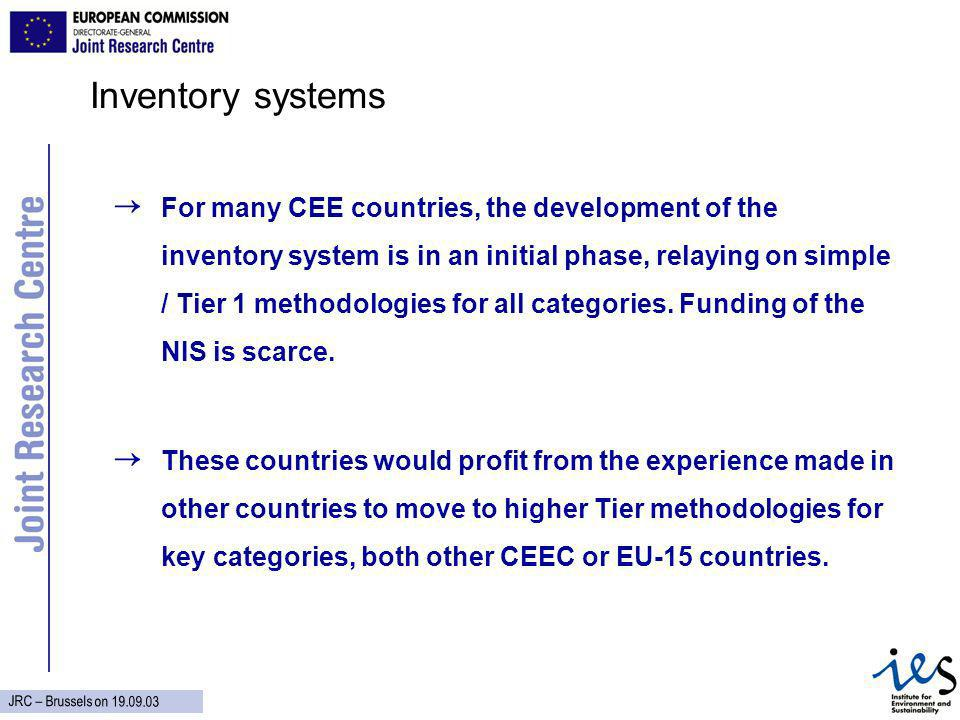 JRC – Brussels on Inventory systems For many CEE countries, the development of the inventory system is in an initial phase, relaying on simple / Tier 1 methodologies for all categories.