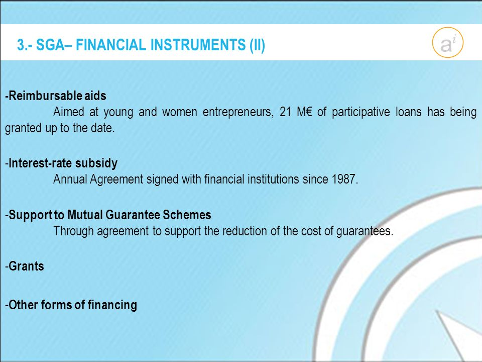 3.- SGA– FINANCIAL INSTRUMENTS (II) -Reimbursable aids Aimed at young and women entrepreneurs, 21 M of participative loans has being granted up to the date.