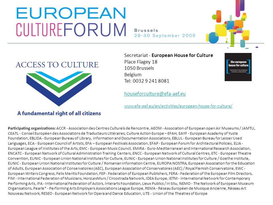 Participating organizations: ACCR - Association des Centres Culturels de Rencontre, AEOM - Association of European open Air Museums / JAMTLI, CEATL -