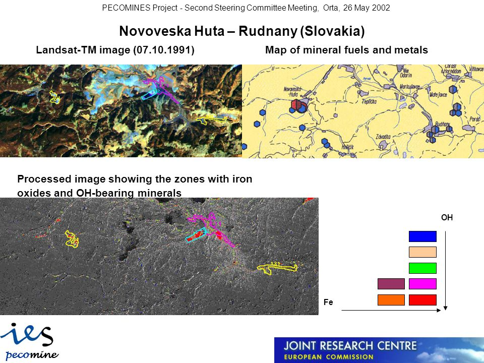 pecomine s PECOMINES Project - Second Steering Committee Meeting, Orta, 26 May 2002 Novoveska Huta – Rudnany (Slovakia) Landsat-TM image (07.10.1991)