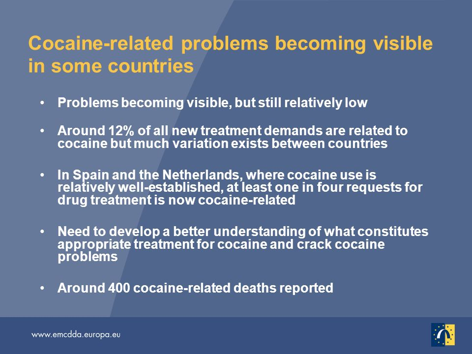 Cocaine-related problems becoming visible in some countries Problems becoming visible, but still relatively low Around 12% of all new treatment demands are related to cocaine but much variation exists between countries In Spain and the Netherlands, where cocaine use is relatively well-established, at least one in four requests for drug treatment is now cocaine-related Need to develop a better understanding of what constitutes appropriate treatment for cocaine and crack cocaine problems Around 400 cocaine-related deaths reported