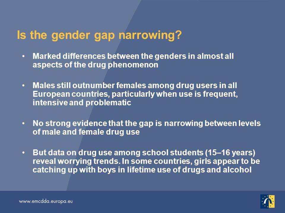 Is the gender gap narrowing? Marked differences between the genders in almost all aspects of the drug phenomenon Males still outnumber females among d
