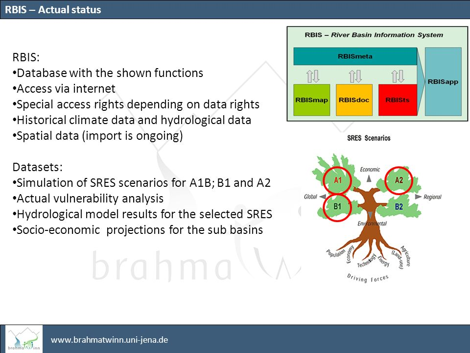 www.brahmatwinn.uni-jena.de RBIS: Database with the shown functions Access via internet Special access rights depending on data rights Historical climate data and hydrological data Spatial data (import is ongoing) Datasets: Simulation of SRES scenarios for A1B; B1 and A2 Actual vulnerability analysis Hydrological model results for the selected SRES Socio-economic projections for the sub basins RBIS – Actual status