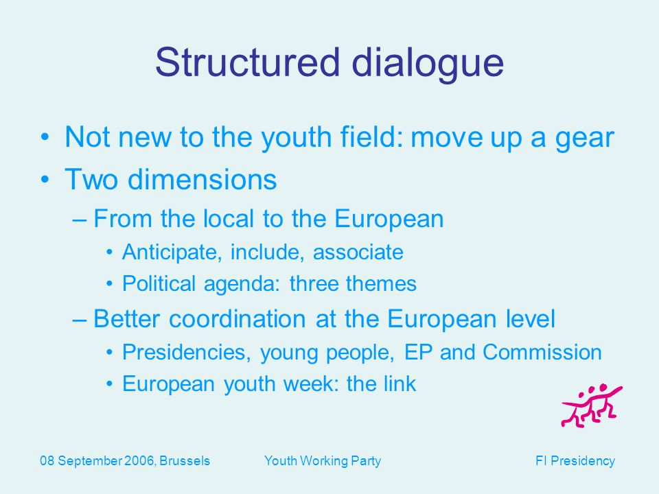 08 September 2006, Brussels Youth Working Party FI Presidency 3 themes for a structured dialogue 2007: social inclusion and diversity 2008: intercultural dialogue 2009: perspectives for continued cooperation in the youth field