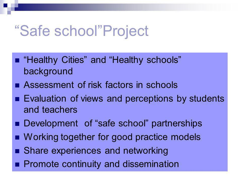 Safe schoolProject Healthy Cities and Healthy schools background Assessment of risk factors in schools Evaluation of views and perceptions by students and teachers Development of safe school partnerships Working together for good practice models Share experiences and networking Promote continuity and dissemination