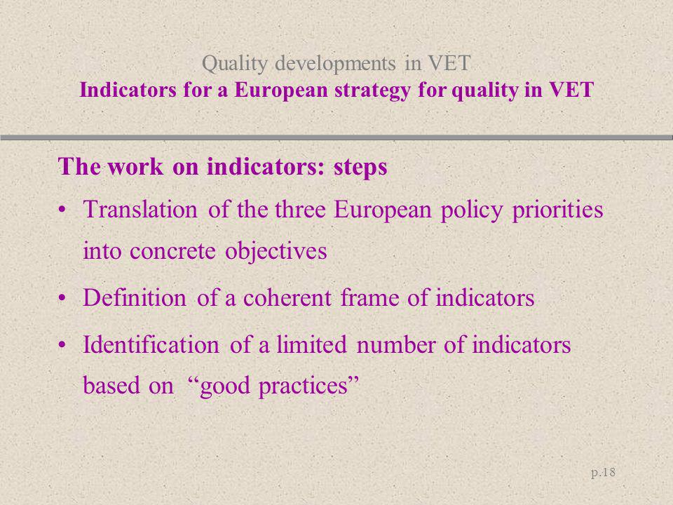 p.18 Quality developments in VET Indicators for a European strategy for quality in VET The work on indicators: steps Translation of the three European