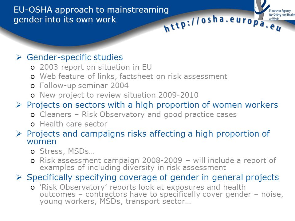 EU-OSHA approach to mainstreaming gender into its own work Gender-specific studies o2003 report on situation in EU oWeb feature of links, factsheet on risk assessment oFollow-up seminar 2004 oNew project to review situation Projects on sectors with a high proportion of women workers oCleaners – Risk Observatory and good practice cases oHealth care sector Projects and campaigns risks affecting a high proportion of women oStress, MSDs… oRisk assessment campaign – will include a report of examples of including diversity in risk assessment Specifically specifying coverage of gender in general projects oRisk Observatory reports look at exposures and health outcomes – contractors have to specifically cover gender – noise, young workers, MSDs, transport sector…