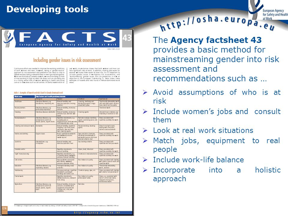 Developing tools The Agency factsheet 43 provides a basic method for mainstreaming gender into risk assessment and recommendations such as … Avoid assumptions of who is at risk Include womens jobs and consult them Look at real work situations Match jobs, equipment to real people Include work-life balance Incorporate into a holistic approach