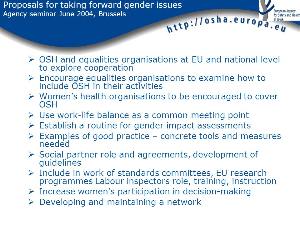 Proposals for taking forward gender issues Agency seminar June 2004, Brussels OSH and equalities organisations at EU and national level to explore cooperation Encourage equalities organisations to examine how to include OSH in their activities Womens health organisations to be encouraged to cover OSH Use work-life balance as a common meeting point Establish a routine for gender impact assessments Examples of good practice – concrete tools and measures needed Social partner role and agreements, development of guidelines Include in work of standards committees, EU research programmes Labour inspectors role, training, instruction Increase womens participation in decision-making Developing and maintaining a network