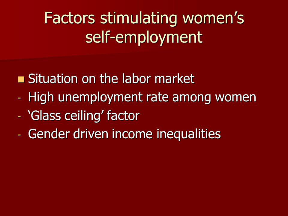 Factors stimulating womens self-employment Situation on the labor market Situation on the labor market - High unemployment rate among women -Glass ceiling factor - Gender driven income inequalities