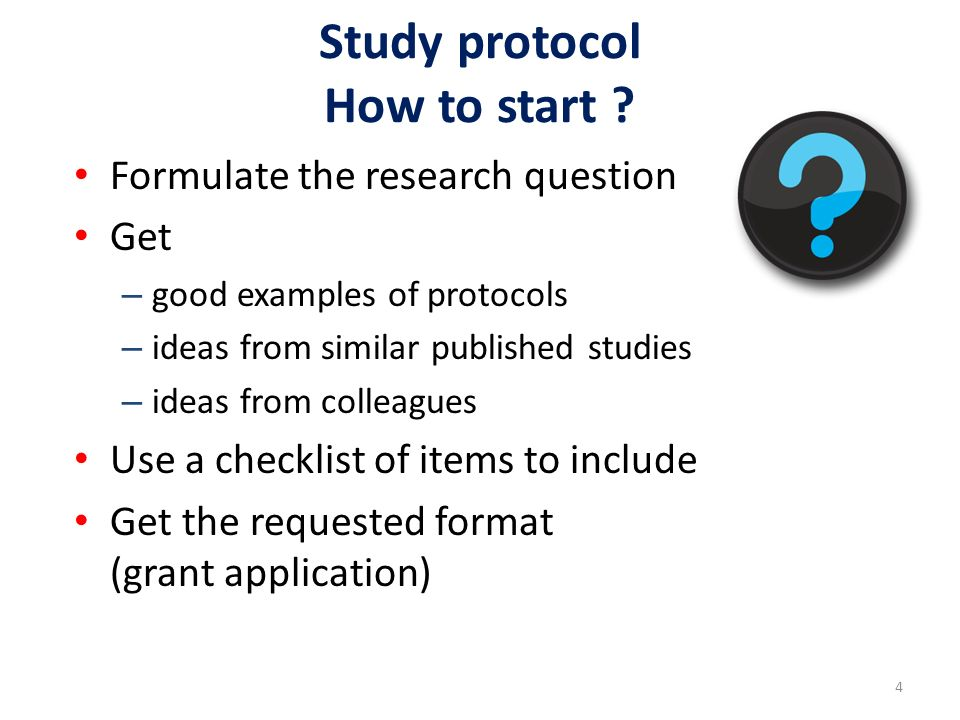 Your task next week Create a study protocol in small groups Present it to the plenary Read the references during the weekend