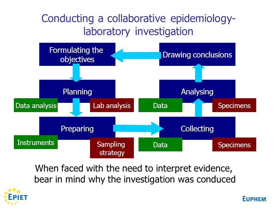 Conducting a collaborative epidemiology- laboratory investigation Formulating the objectives Planning Preparing Analysing Drawing conclusions Collecti