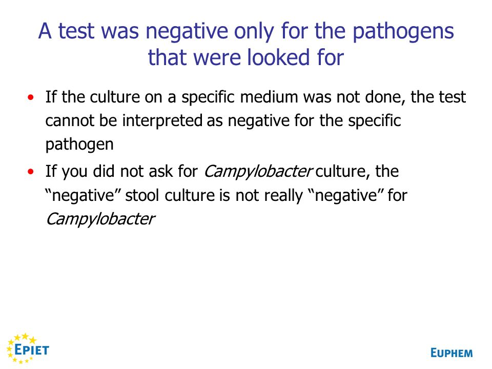 A test was negative only for the pathogens that were looked for If the culture on a specific medium was not done, the test cannot be interpreted as ne