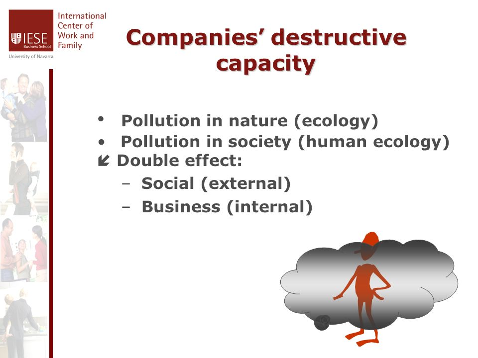 Companies destructive capacity Pollution in nature (ecology) Pollution in society (human ecology) Double effect: – Social (external) – Business (internal)