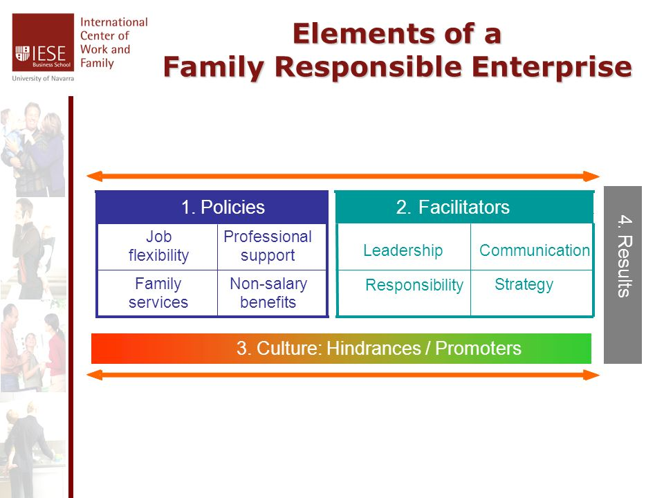Elements of a Family Responsible Enterprise Non-salary benefits Family services Professional support Job flexibility 1.