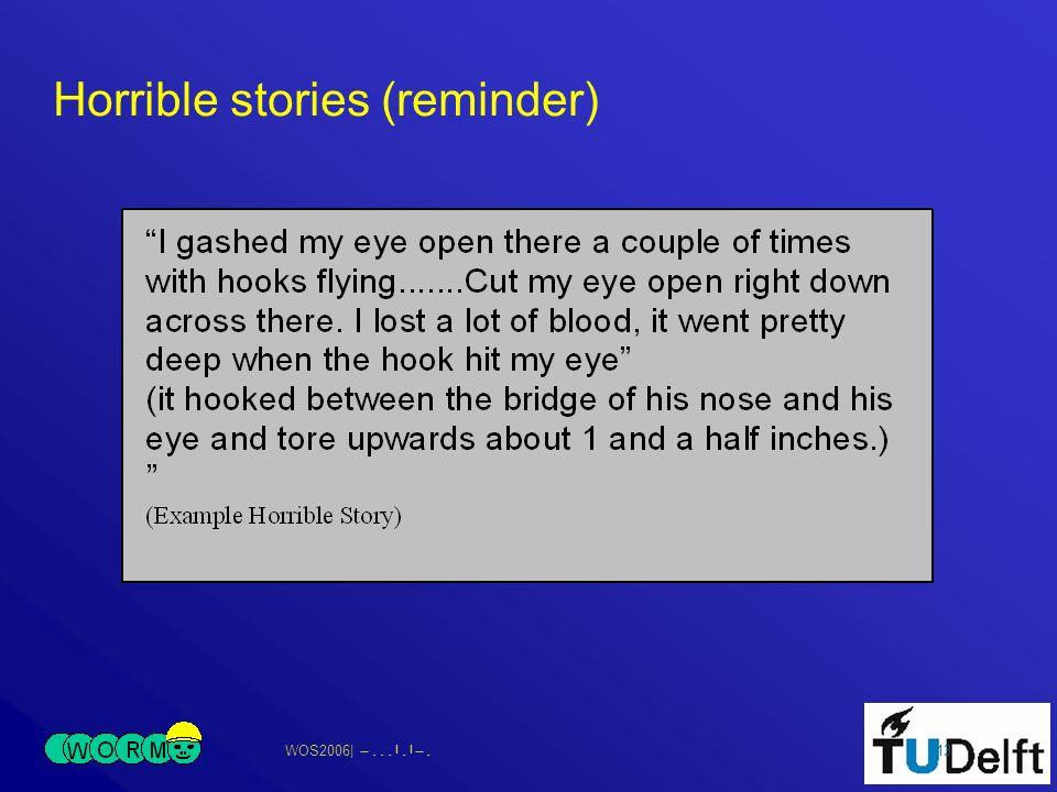 WOS2006| 13 Horrible stories (reminder)
