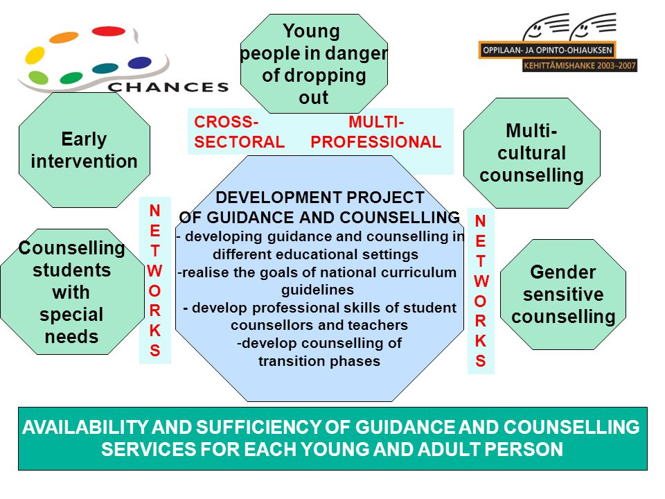 NETWORKSNETWORKS NETWORKSNETWORKS CROSS- SECTORAL MULTI- PROFESSIONAL AVAILABILITY AND SUFFICIENCY OF GUIDANCE AND COUNSELLING SERVICES FOR EACH YOUNG