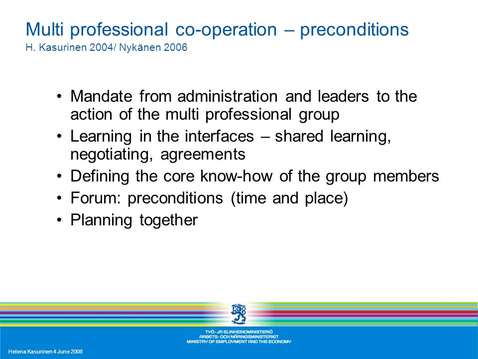 Helena Kasurinen 4 June 2008 Multi professional co-operation – preconditions H. Kasurinen 2004/ Nykänen 2006 Mandate from administration and leaders t