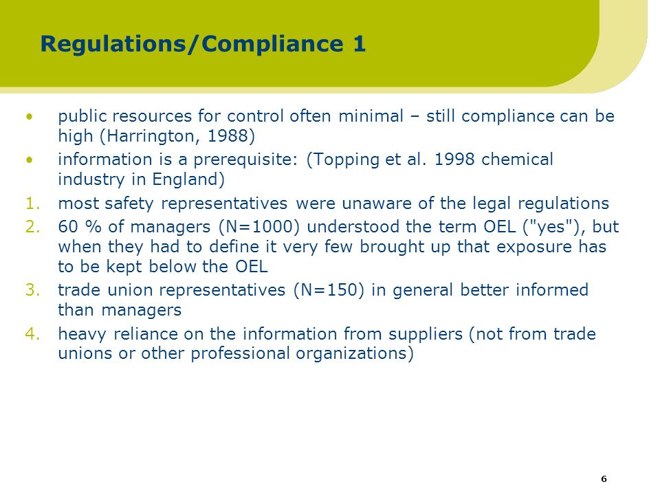 6 Regulations/Compliance 1 public resources for control often minimal – still compliance can be high (Harrington, 1988) information is a prerequisite: (Topping et al.