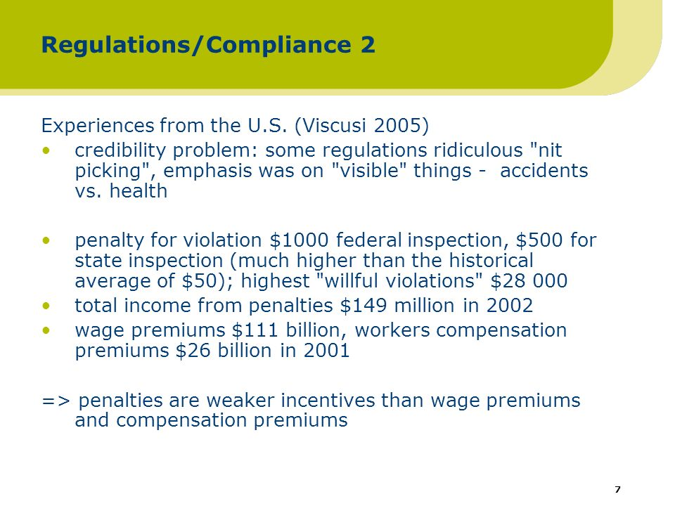 8 Regulation/recommendations … targeted inspections based on registers (e.g.