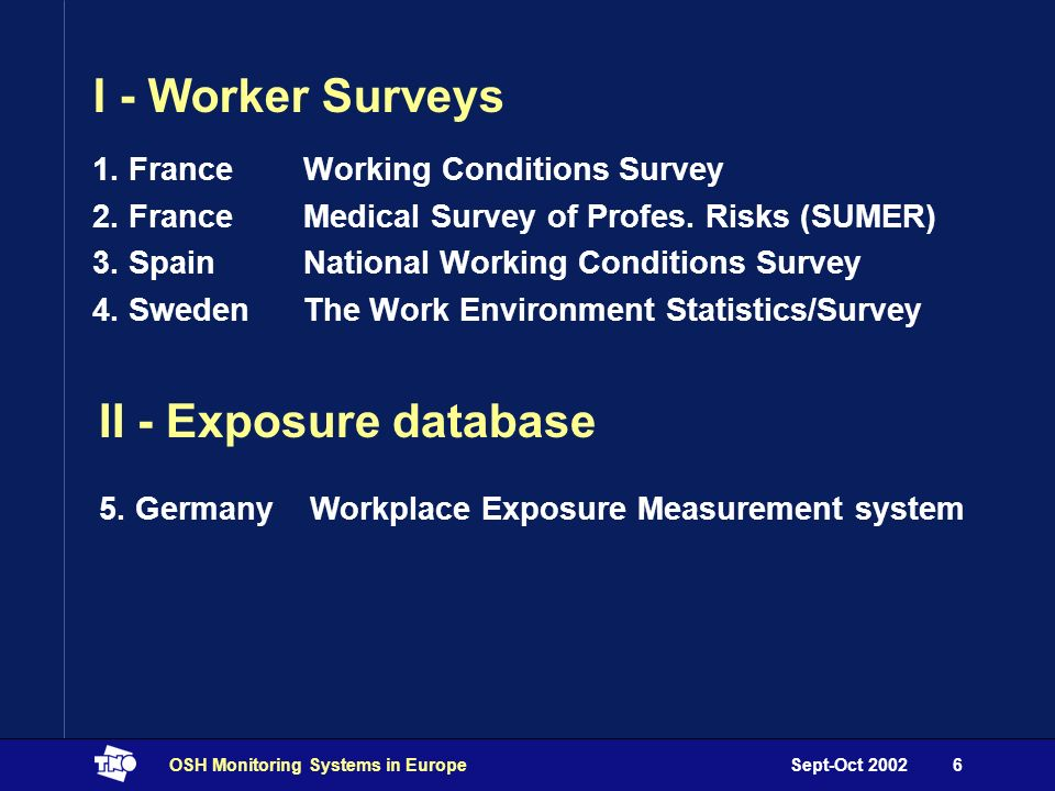 Sept-Oct 2002OSH Monitoring Systems in Europe6 I - Worker Surveys 1.
