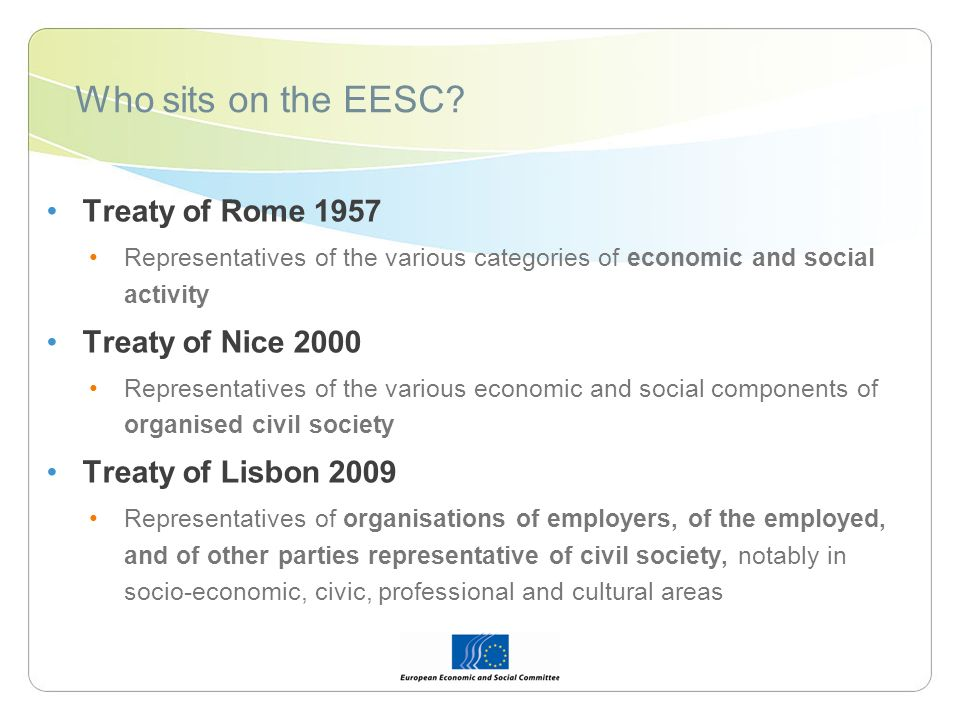 Who sits on the EESC.