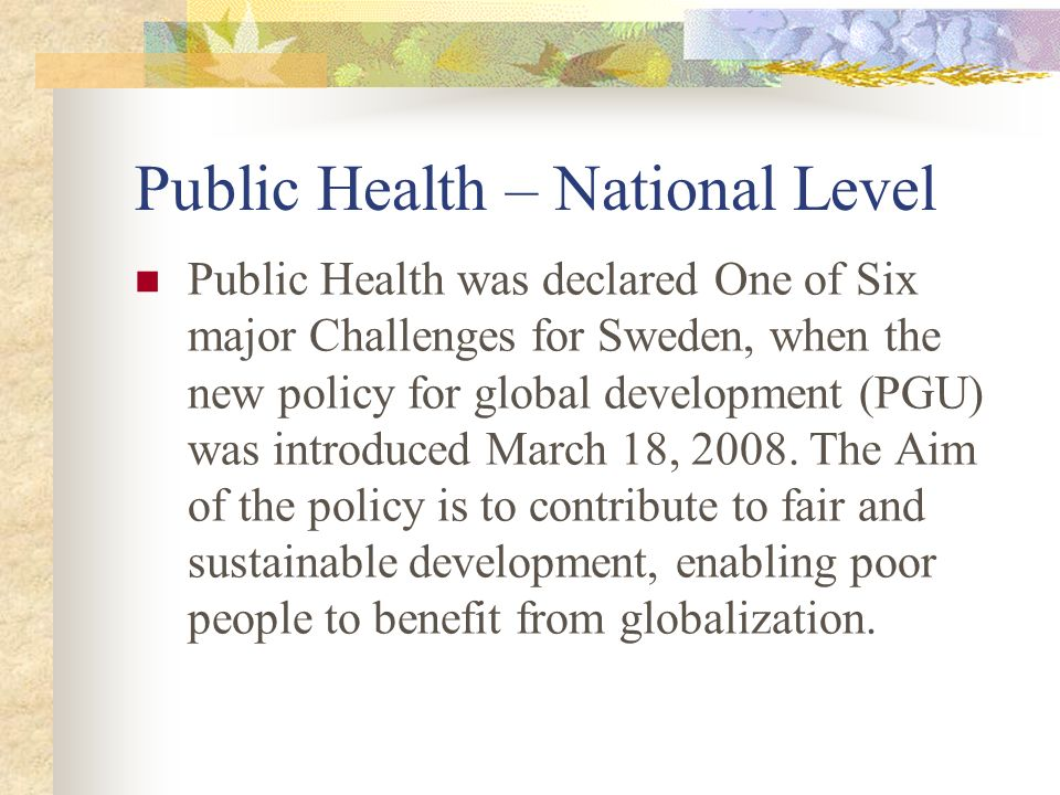 Public Health – National Level Public Health was declared One of Six major Challenges for Sweden, when the new policy for global development (PGU) was introduced March 18, 2008.