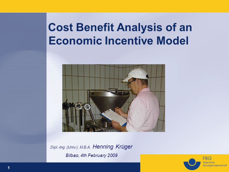 1 Cost Benefit Analysis of an Economic Incentive Model Dipl.-Ing. (Univ.), M.B.A. Henning Krüger Bilbao, 4th February 2009