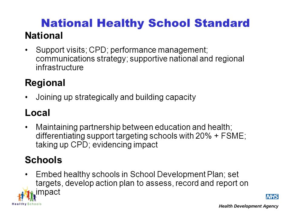 National Healthy School Standard National Support visits; CPD; performance management; communications strategy; supportive national and regional infrastructure Regional Joining up strategically and building capacity Local Maintaining partnership between education and health; differentiating support targeting schools with 20% + FSME; taking up CPD; evidencing impact Schools Embed healthy schools in School Development Plan; set targets, develop action plan to assess, record and report on impact