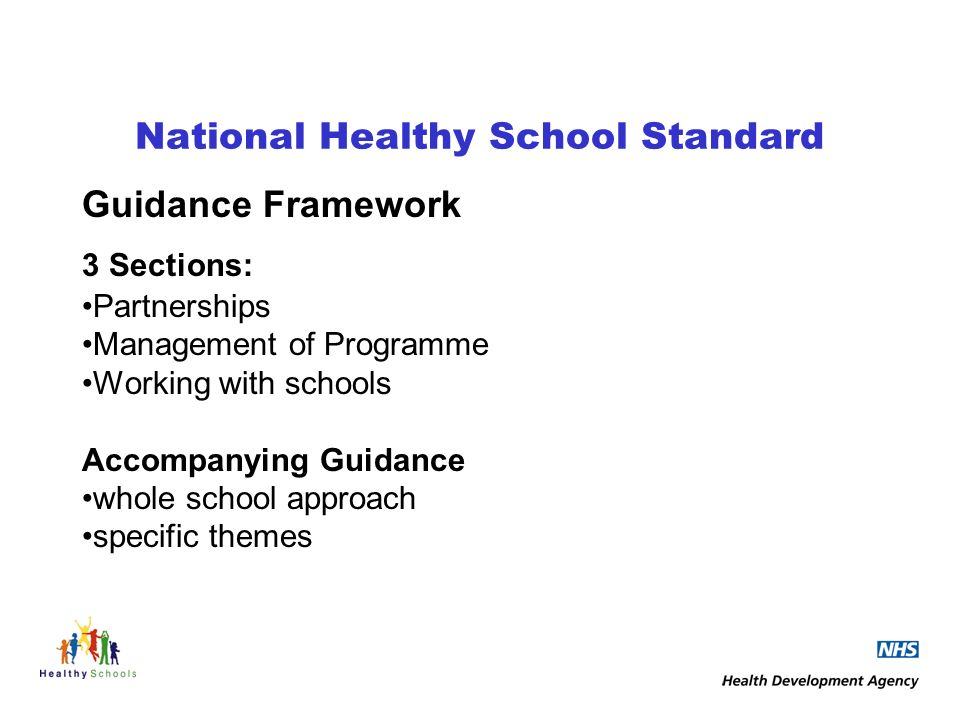 National Healthy School Standard Guidance Framework 3 Sections: Partnerships Management of Programme Working with schools Accompanying Guidance whole school approach specific themes