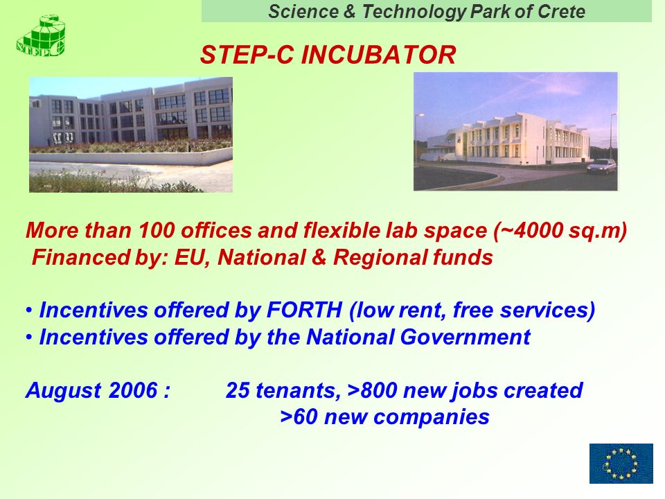 Science & Technology Park of Crete 6 STEP-C INCUBATOR More than 100 offices and flexible lab space (~4000 sq.m) Financed by: EU, National & Regional funds Incentives offered by FORTH (low rent, free services) Incentives offered by the National Government August 2006 : 25 tenants, >800 new jobs created >60 new companies