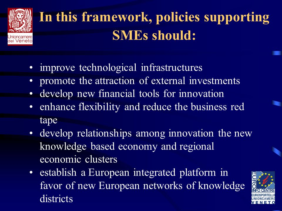 In this framework, policies supporting SMEs should: improve technological infrastructures promote the attraction of external investments develop new financial tools for innovation enhance flexibility and reduce the business red tape develop relationships among innovation the new knowledge based economy and regional economic clusters establish a European integrated platform in favor of new European networks of knowledge districts