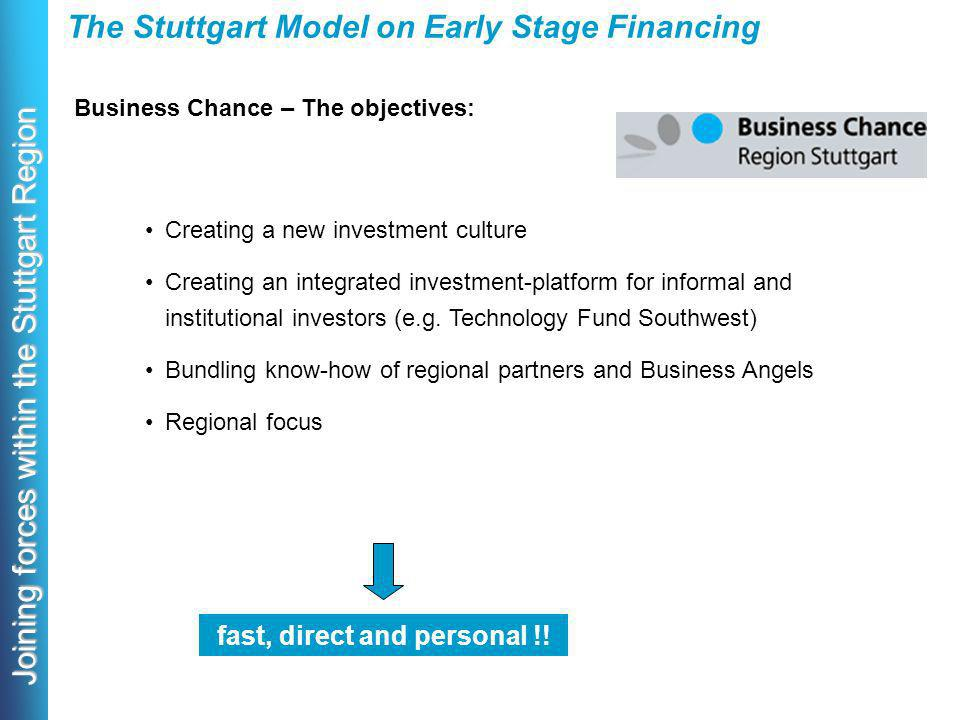 Joining forces within the Stuttgart Region Business Chance – The objectives: The Stuttgart Model on Early Stage Financing Creating a new investment culture Creating an integrated investment-platform for informal and institutional investors (e.g.