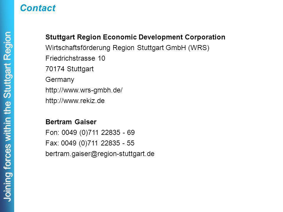 Joining forces within the Stuttgart Region Contact Stuttgart Region Economic Development Corporation Wirtschaftsförderung Region Stuttgart GmbH (WRS) Friedrichstrasse 10 70174 Stuttgart Germany http://www.wrs-gmbh.de/ http://www.rekiz.de Bertram Gaiser Fon: 0049 (0)711 22835 - 69 Fax: 0049 (0)711 22835 - 55 bertram.gaiser@region-stuttgart.de